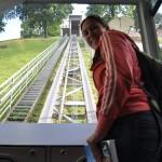 Met het karretje omhoog in Vilnius